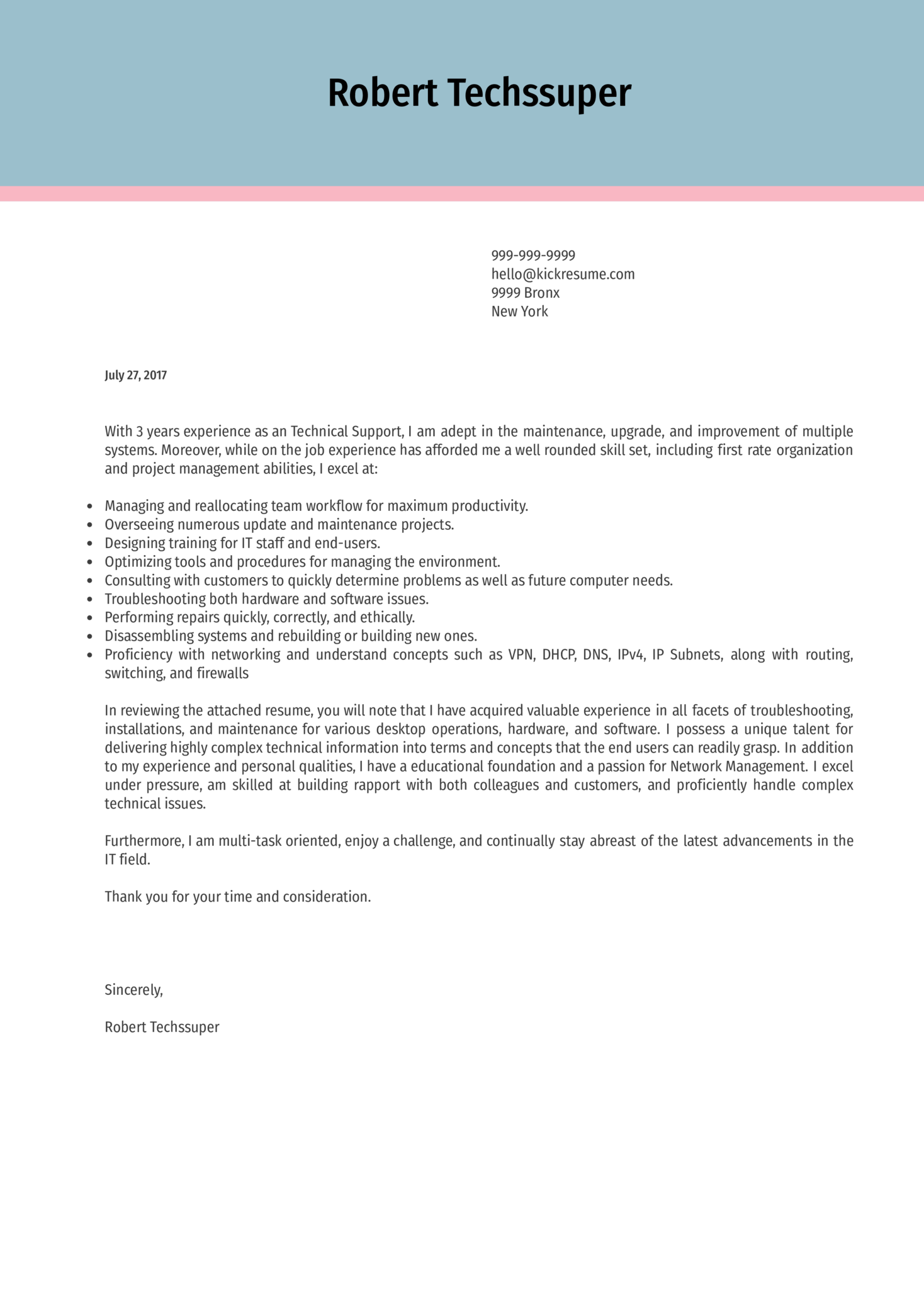 Technical Support Representative Cover Letter Kickresume