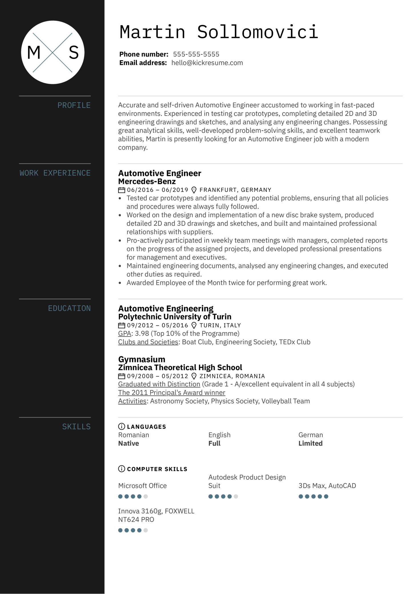 resume examples by real people  automotive engineer resume