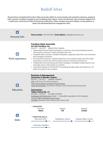 Furniture Sales Associate Resume Sample