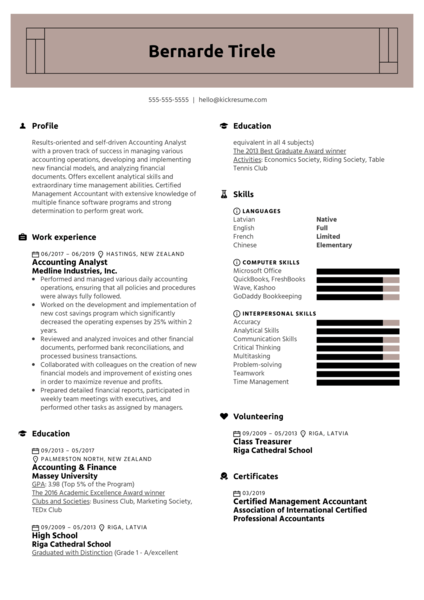 Accounting Analyst Resume Sample