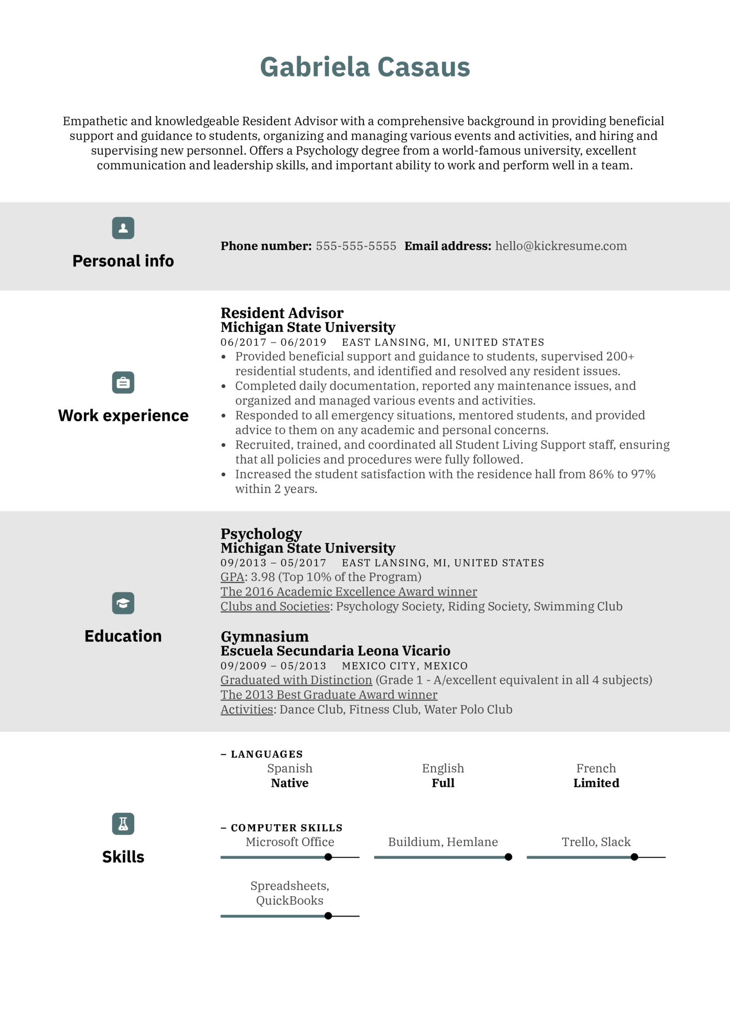 resume examples by real people  resident advisor resume