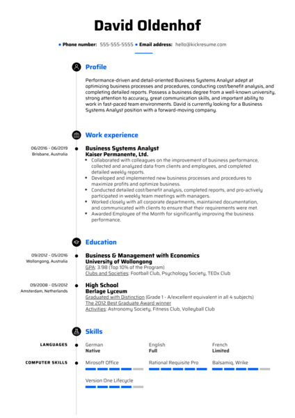 Business Systems Analyst Resume Sample