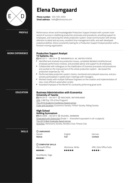 Production Support Analyst Resume Example