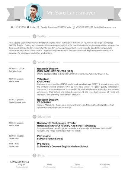 Research intern resume sample