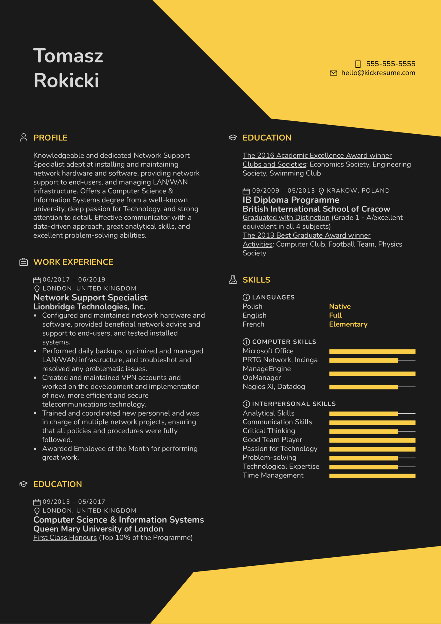 Network Support Specialist Resume Sample