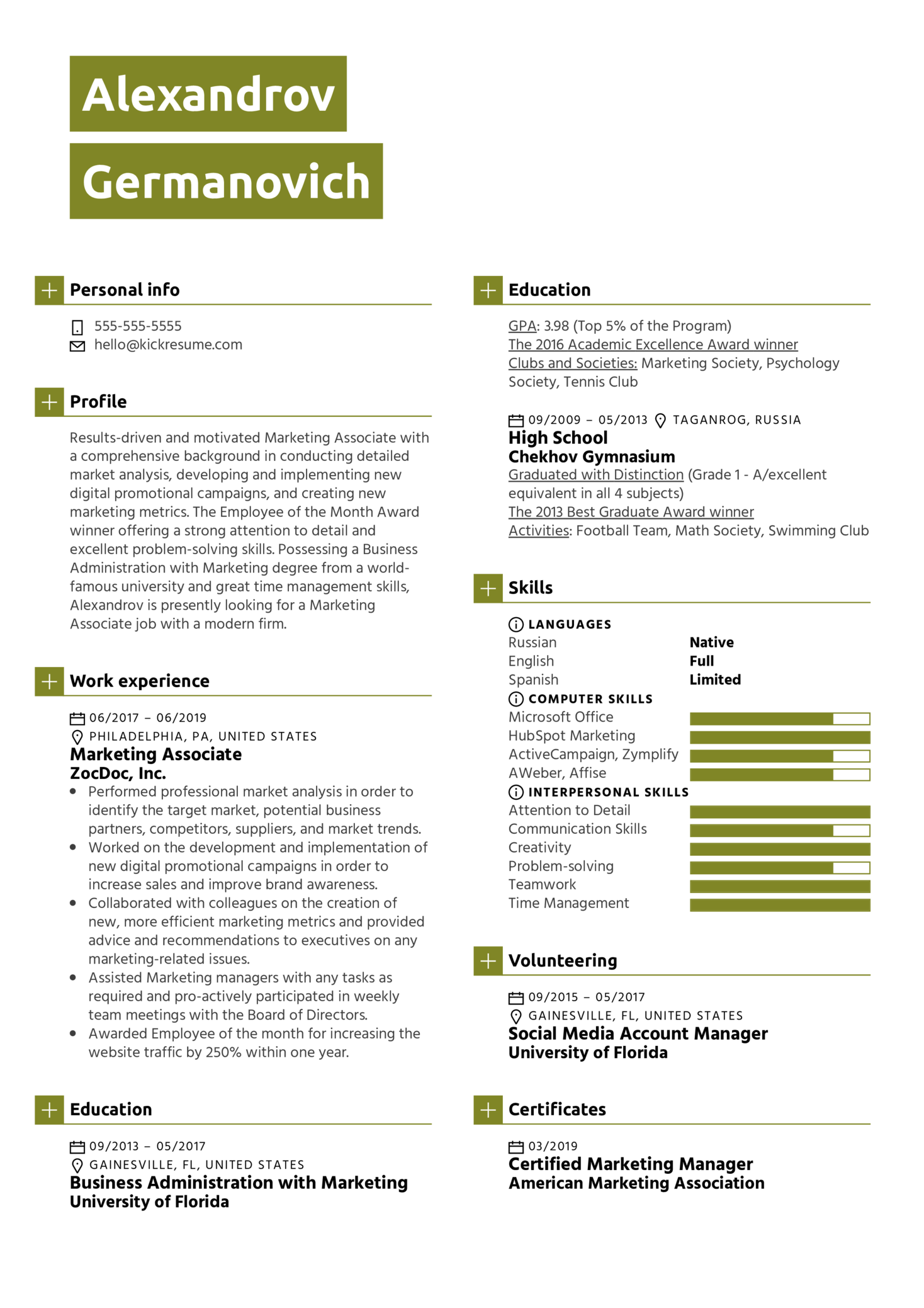 Marketing Associate Resume Sample (parte 1)