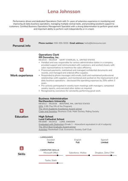 Operations Clerk Resume Sample
