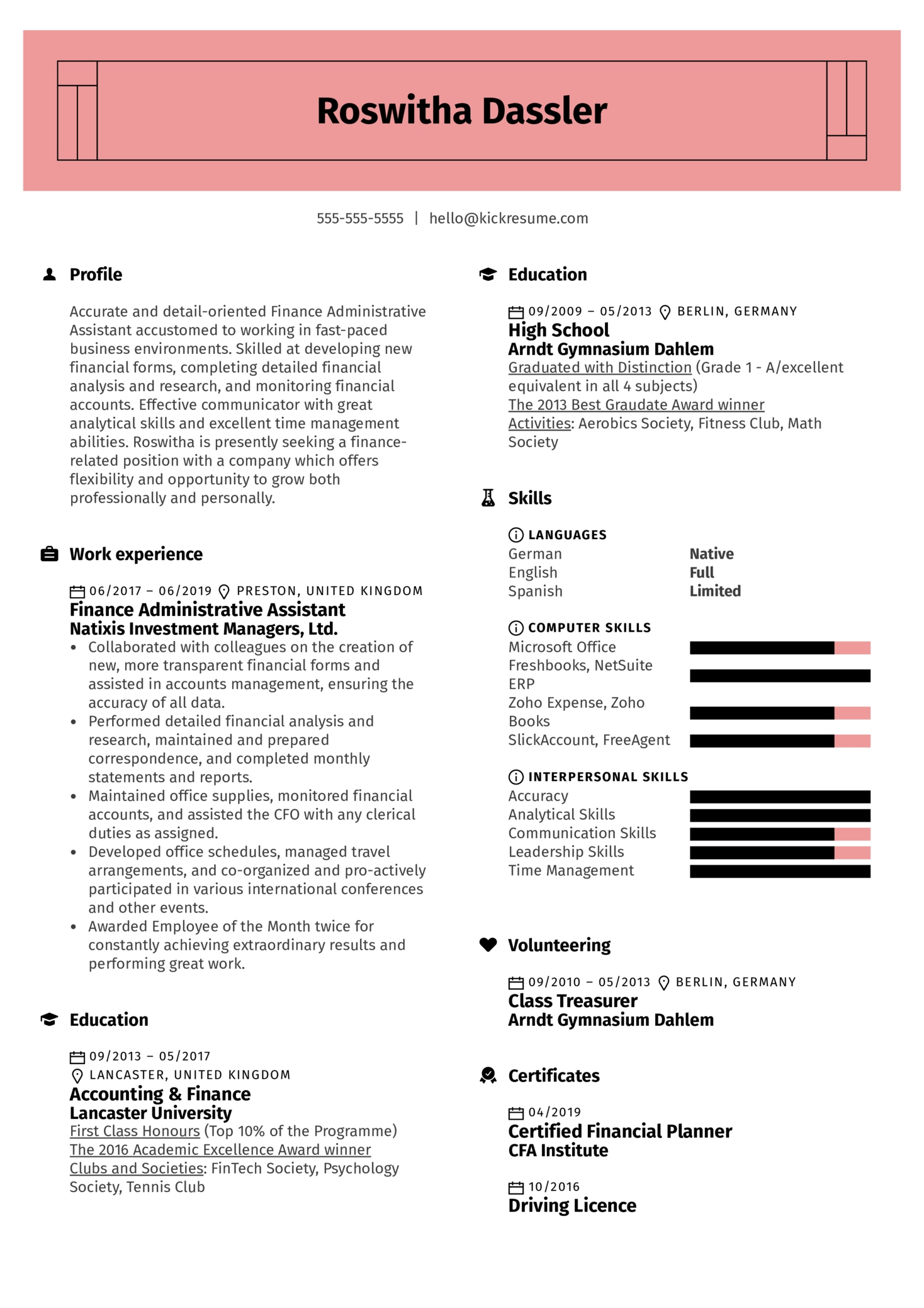Finance Administrative Assistant Resume Sample