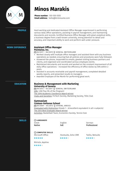 Assistant Office Manager Resume Sample