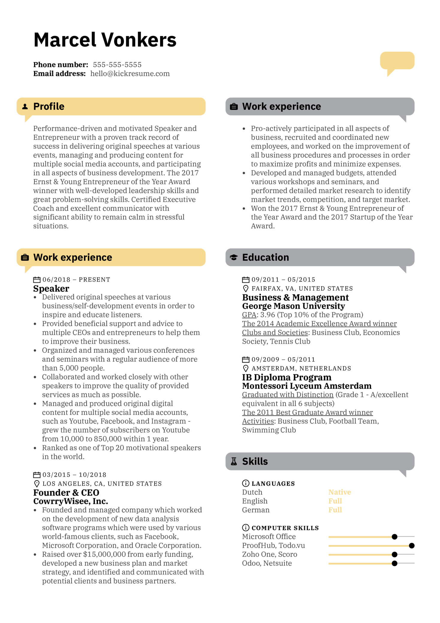 resume examples by real people  speaker resume template