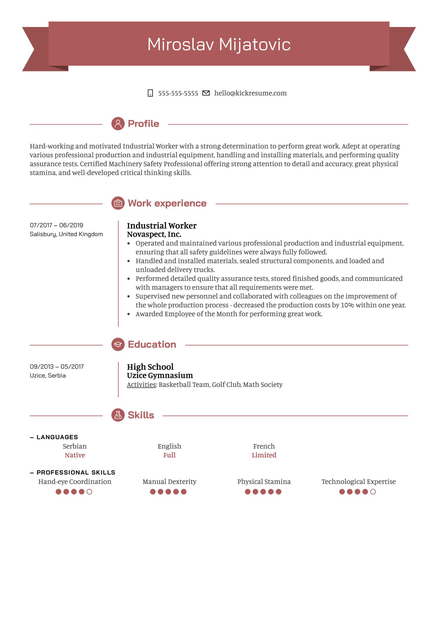 Industrial Worker Resume Sample (Part 1)