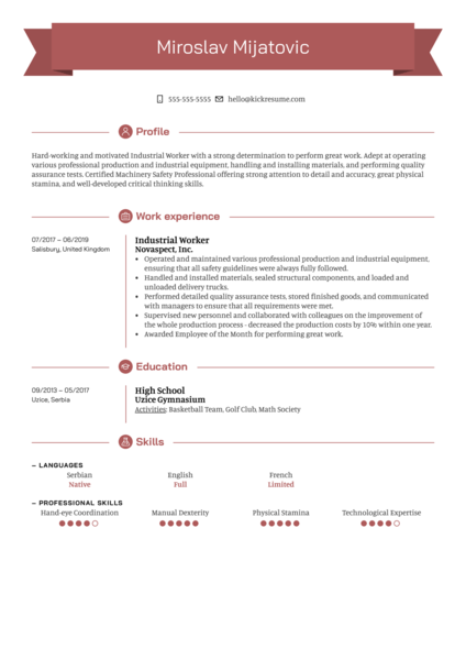 Industrial Worker Resume Sample