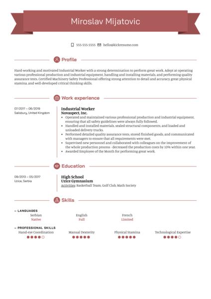 Industrial Worker Resume Sample