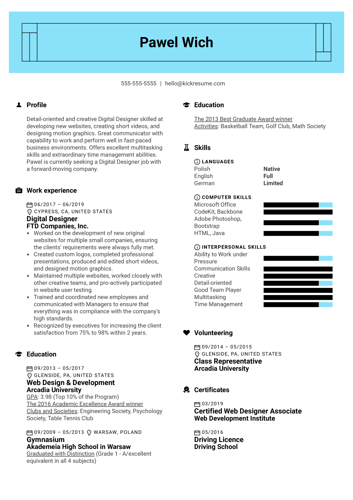 Digital Designer Resume Example Kickresume