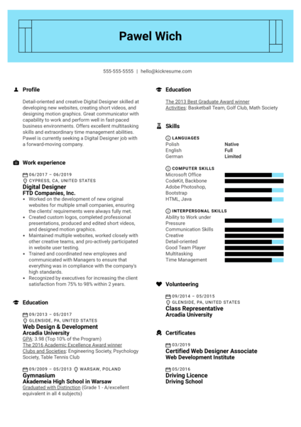 Digital Designer Resume Example