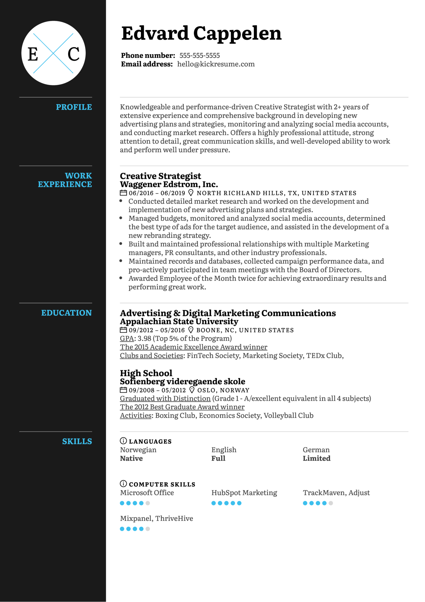 Creative Strategist Resume Sample