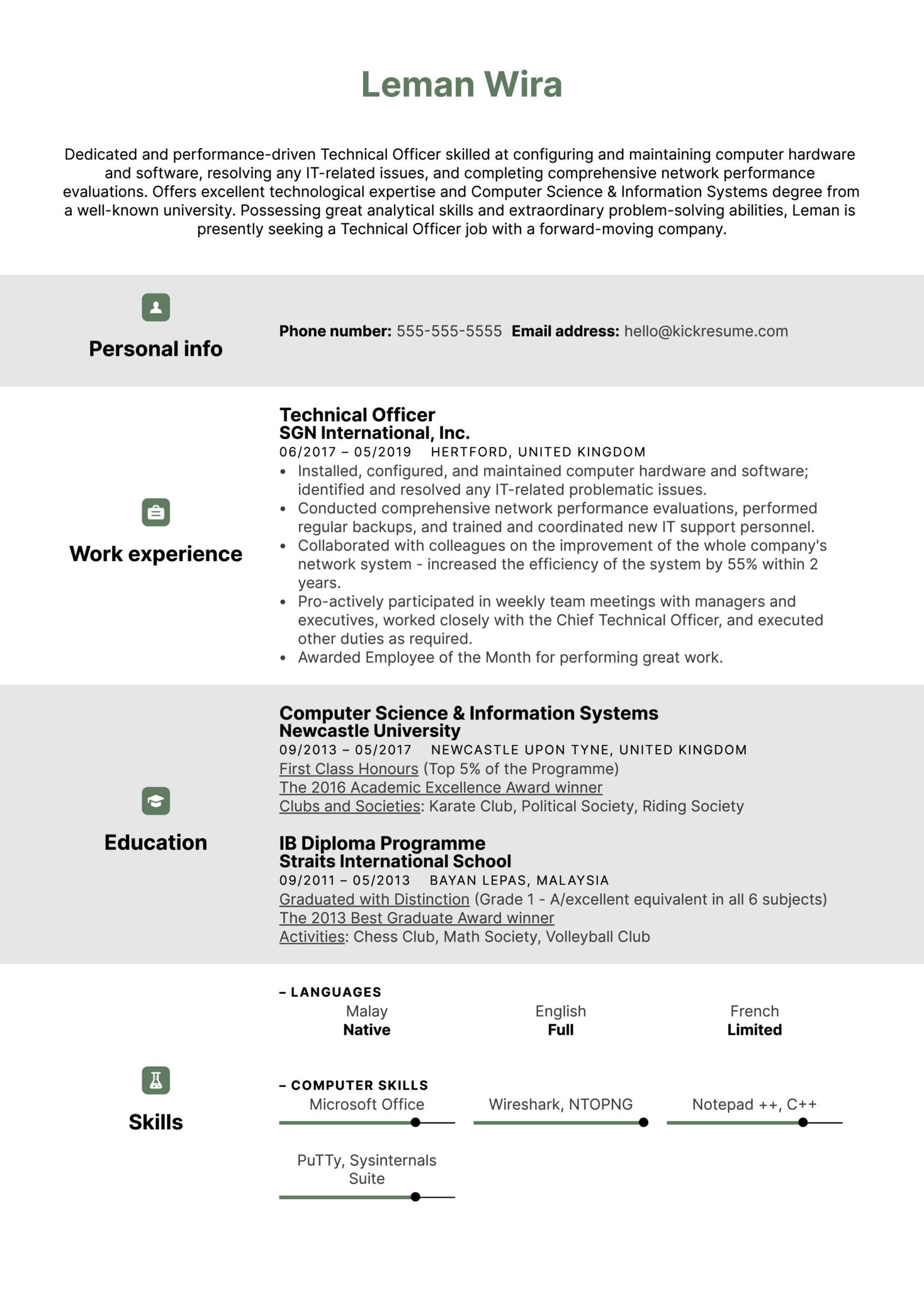 Technical Officer Resume Sample