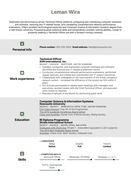 Technical Officer Resume Sample