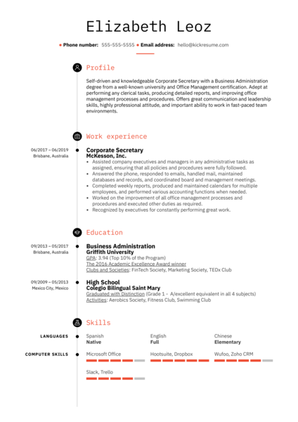 Corporate Secretary Resume Example
