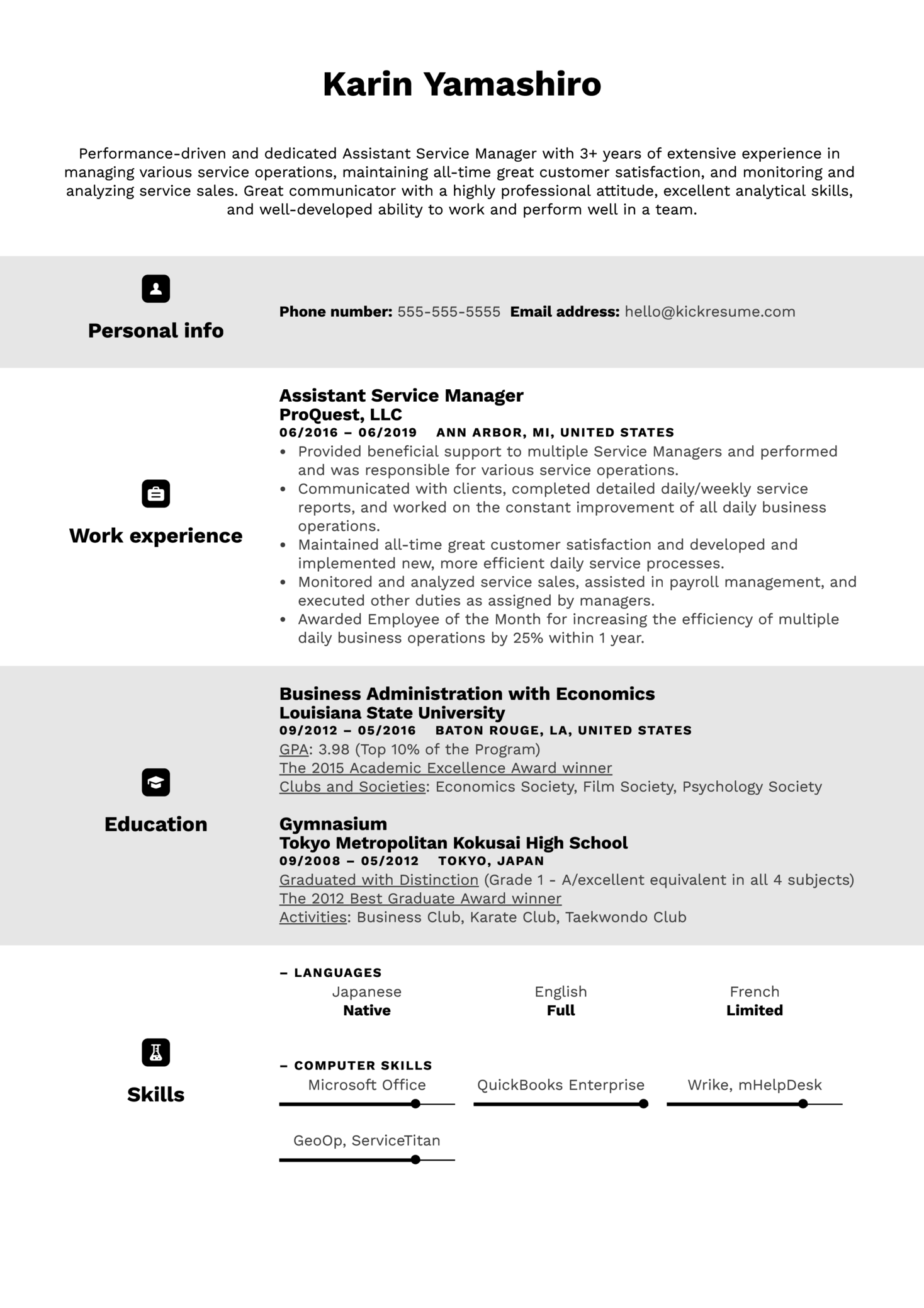 Assistant Service Manager Resume Example