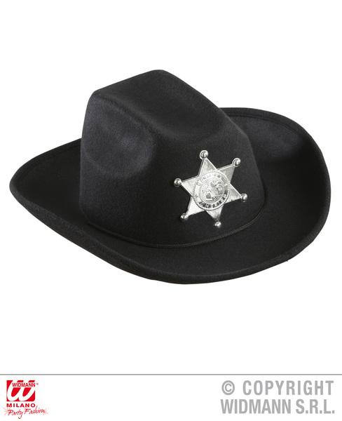 BLACK COWBOY HAT W/SHERIFF STAR - CHILD SIZE