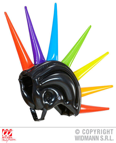 INFLATABLE MULTICOLOUR SPIKES HELMET