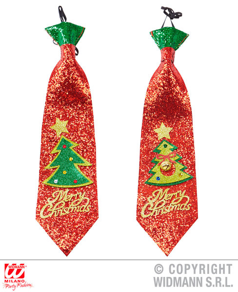GLITTER CHRISTMAS TREE TIE - 2 colors ass