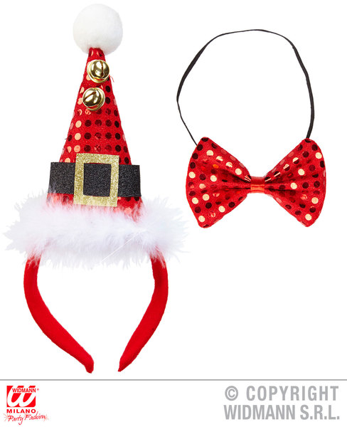 SEQUIN MINI SANTA HAT WITH 2 JINGLE BELLS & BOW TIE
