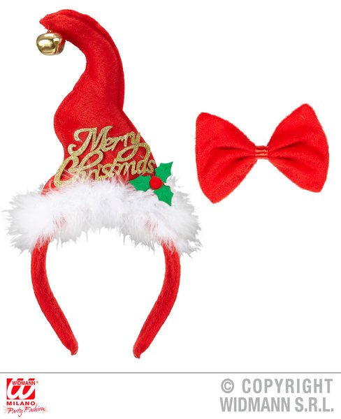 MINI SANTA HAT WITH JINGLE BELL & BOW TIE