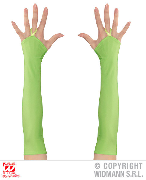 NEON GREEN FINGERLESS SATIN GLOVES