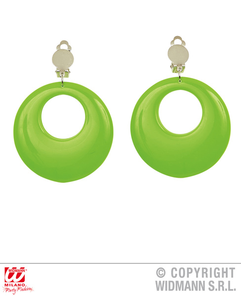 CIRCLE EARRINGS - NEON GREEN