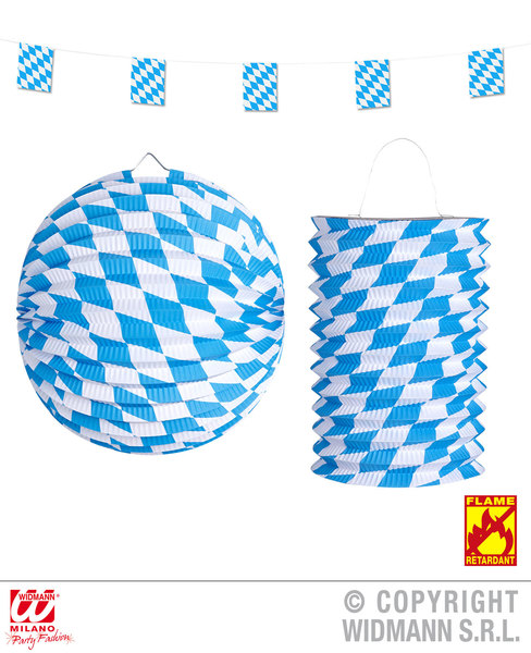 BAVARIAN DECOR SET: FLAG GARLAND 4m PAPER BALL 25cm  & LANTE