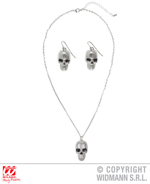 SILVER SKULL NECKLACE & EARRINGS