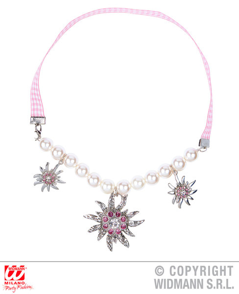 EDELWEISS PEARL NECKLACE WITH CLEAR & PINK STRASS