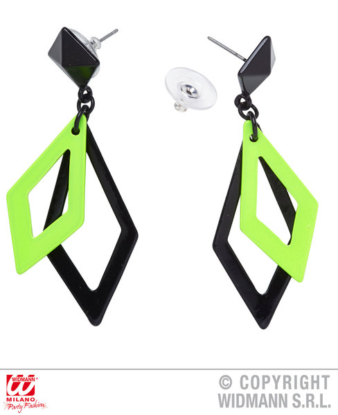 RHOMBUS EARRINGS - BLACK & NEON GREEN