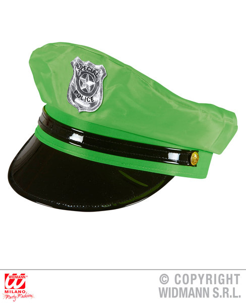 100% Vrai Vert Fluo Police Chapeau Policier Detective Policier Loi Officier Fancy Dress-afficher Le Titre D'origine Nourrir Les Reins Soulager Le Rhumatisme