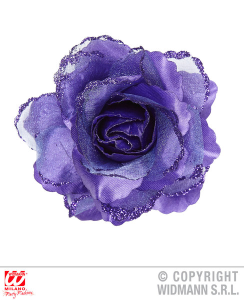 PURPLE ROSE HAIR CLIP WITH GLITTER