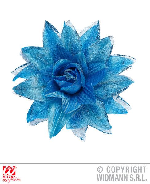 AZURE FLOWER HAIR CLIP WITH GLITTER