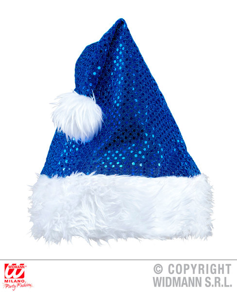 BLUE SEQUIN SANTA CLAUS HAT
