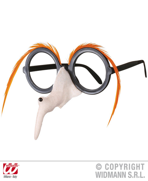 GLASSES W/WITCH NOSE & BROW - ORANGE