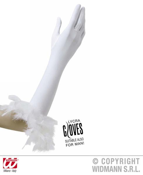 GLOVES W/WHT FEATHERS WHITE