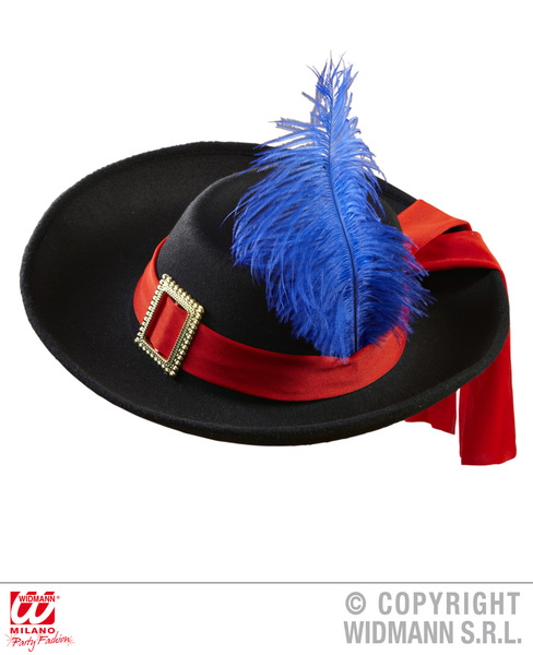 REAL LOOK MUSKETEER HAT - CHILD SIZE BLACK W/ RED BAND