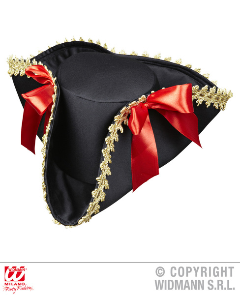 PIRATE TRICORN WITH GOLD TRIM & BOWS