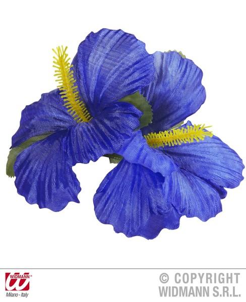 HIBISCUS 2 FLOWER HAIR CLIP - BLUE