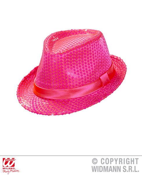 NEON PINK SEQUINED FEDORA