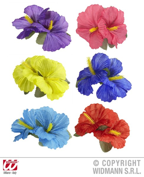 HIBISCUS 2 FLOWER HAIR CLIP - 6 colours