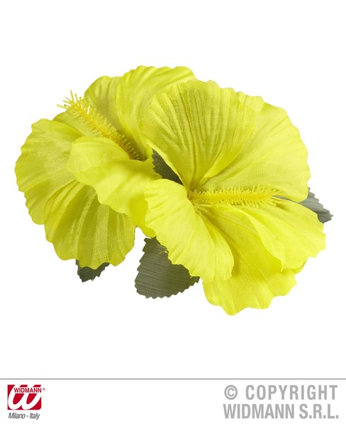 HIBISCUS 2 FLOWER HAIR CLIP - YELLOW