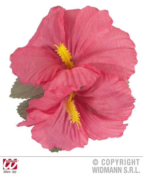 HIBISCUS 2 FLOWER HAIR CLIP - PINK