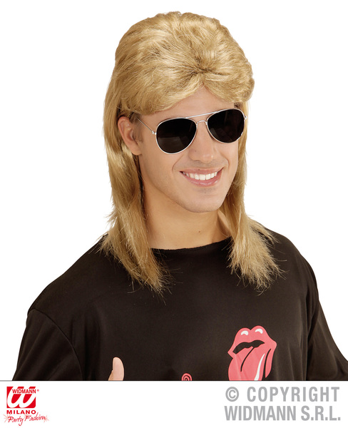 80s MULLET WIG W/GLASSES - BLONDE