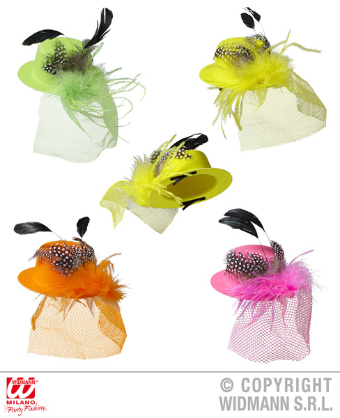 MINI HAT WITH FEATHERS & VEIL - 4 colours